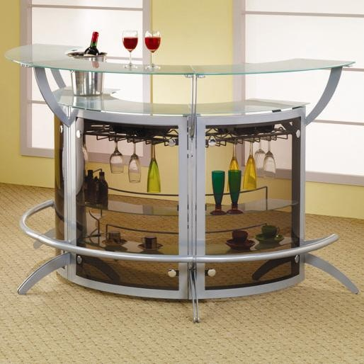 Bar Unit: Contemporary Silver Metal Bar Unit with Glass Top