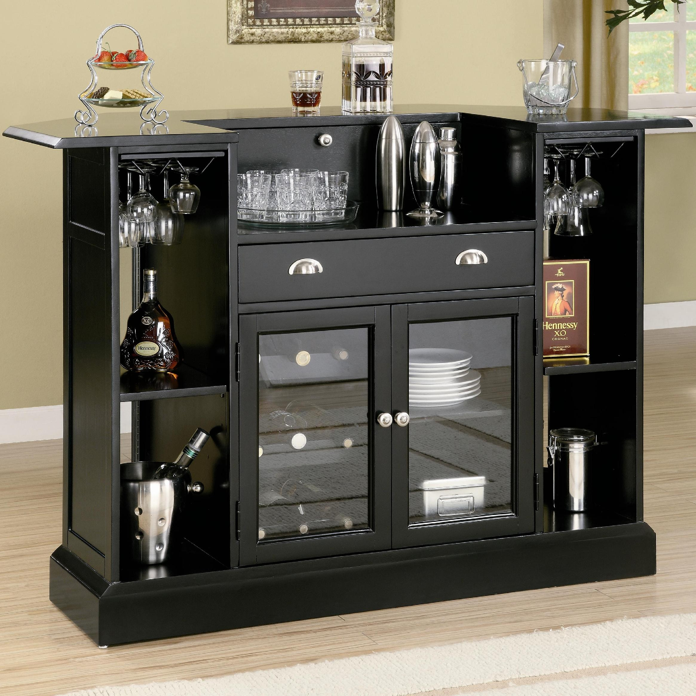 Coaster Inwood Contemporary Bar With Wine Rack And Stemware Storage 100175