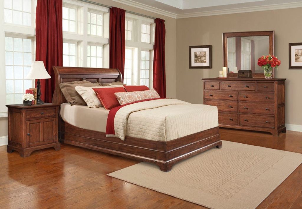 cresent fine furniture bedroom retreat cherry sleigh bed 1532 sleigh