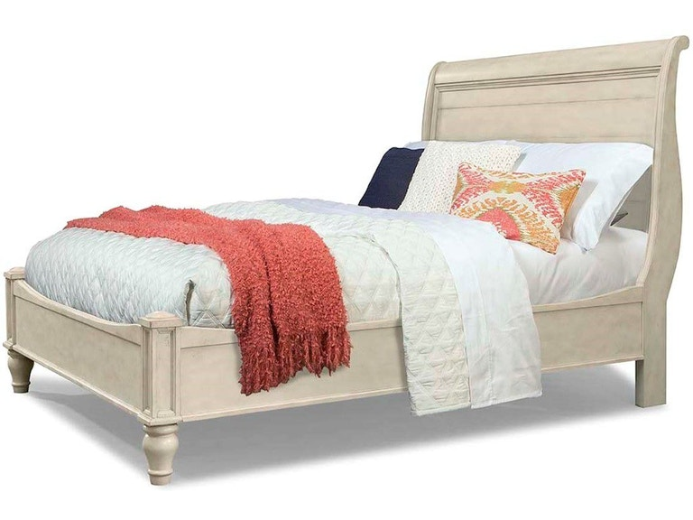 Cresent Fine Furniture Bedroom Cottage Sleigh Bed-White, California ...