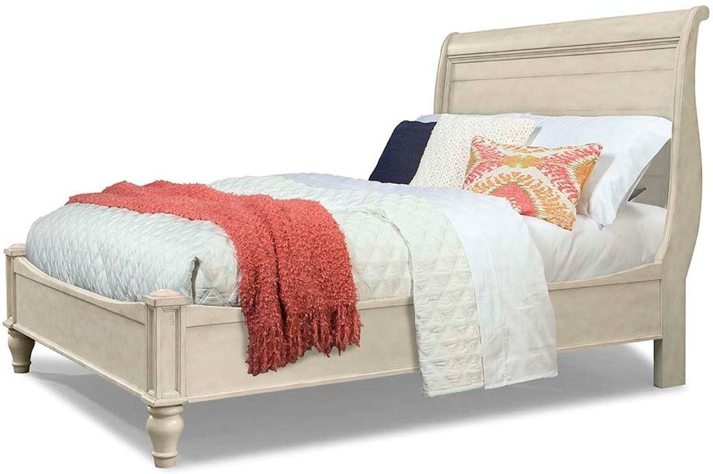 . Cresent Fine Furniture Bedroom Cottage Sleigh Bed White  Queen 5 0