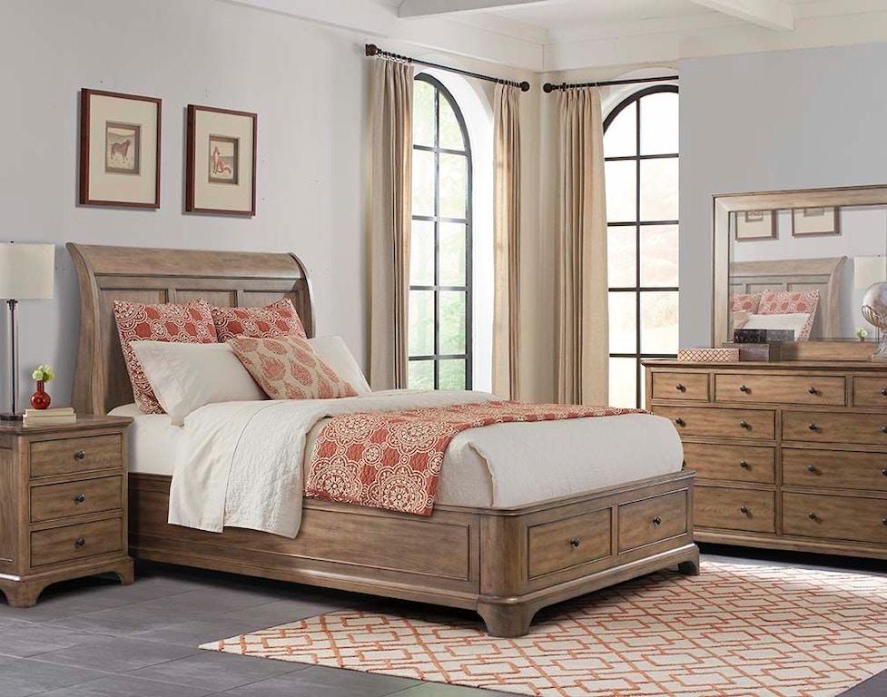 Cresent Fine Furniture Bedroom Gunnison Storage Sleigh Bed 204-132 ...