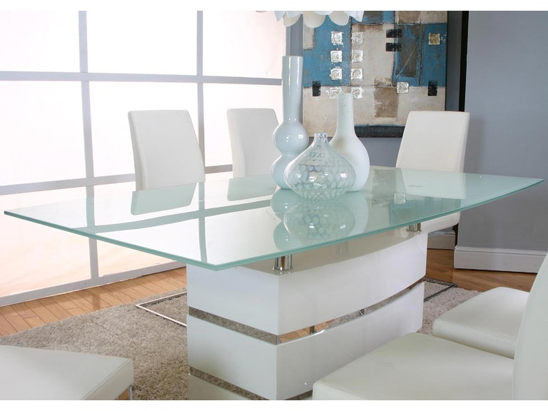 Cramco Dining Room White Frosted Tempered Glass Dining Table ...