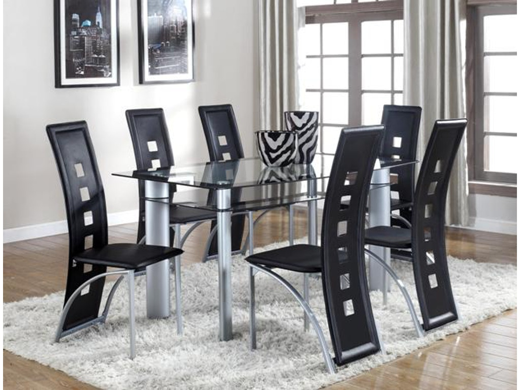 Crown Mark Dining Room Echo Table Gl Top 1170t 3660 At Dewey Furniture