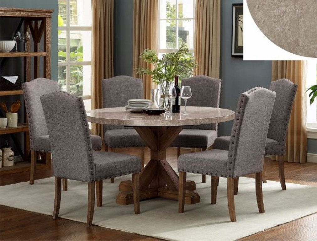 Crown Mark Dining Room Vesper Marble Round 1211rd 5p Smith Village Home Furnishings Jacobus And