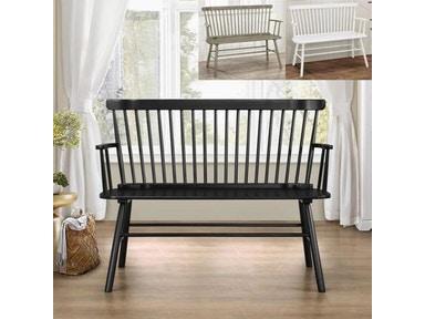 Crown Mark Jerimiah Spindleback Bench White 4185-BENCH-WH