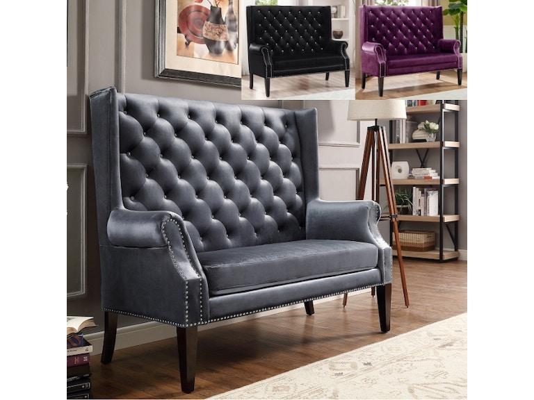Crown Mark Odina Loveseat Chair Grey 4943-GY