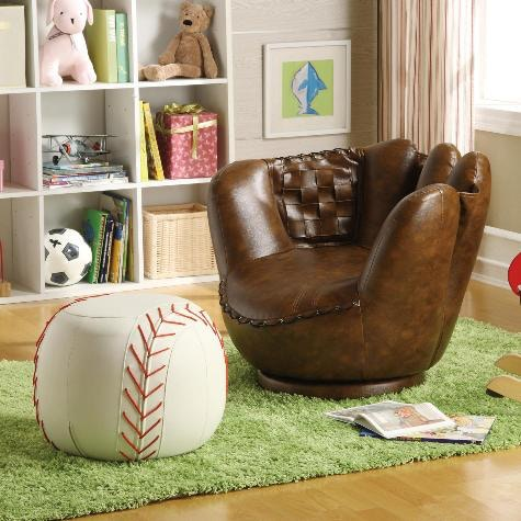 Nice Crown Mark Baseball Glove Chair And Ottoman 7005