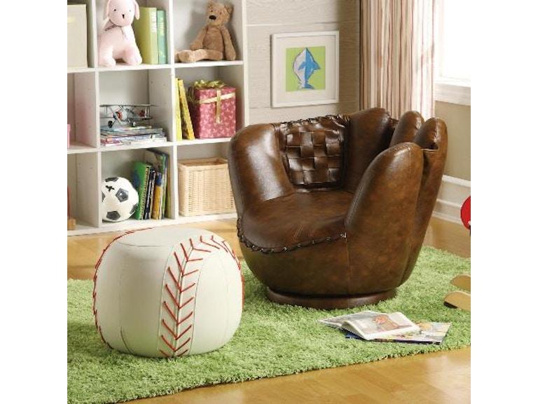 Crown Mark Baseball Glove Chair And Ottoman 7005
