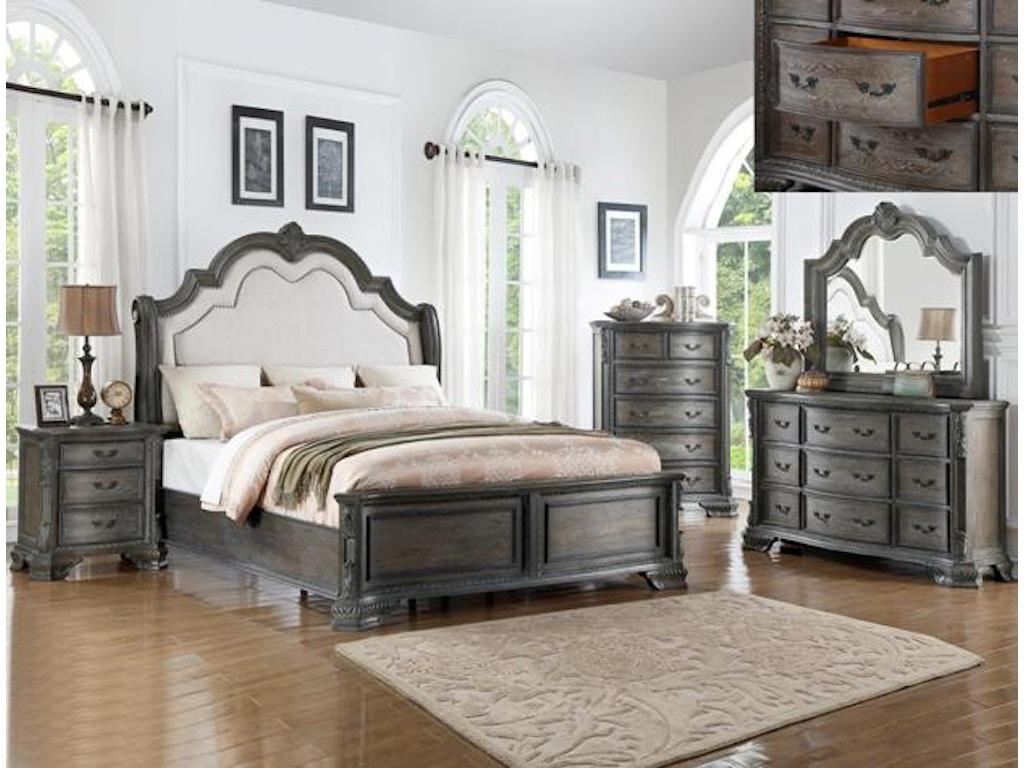 Crown mark bedroom sheffield dresser antique grey b1120 1 charter furniture dallas fort for Antique grey bedroom furniture