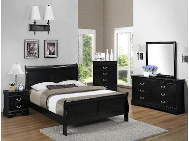 Crown Mark Bedroom Louis Philip Headboard/Footboard K/D Black ...