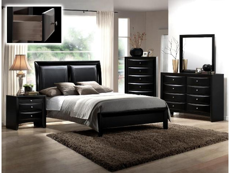 Crown Mark Bedroom Black Emily Queen Headboard/Footboard B4280-Q ...