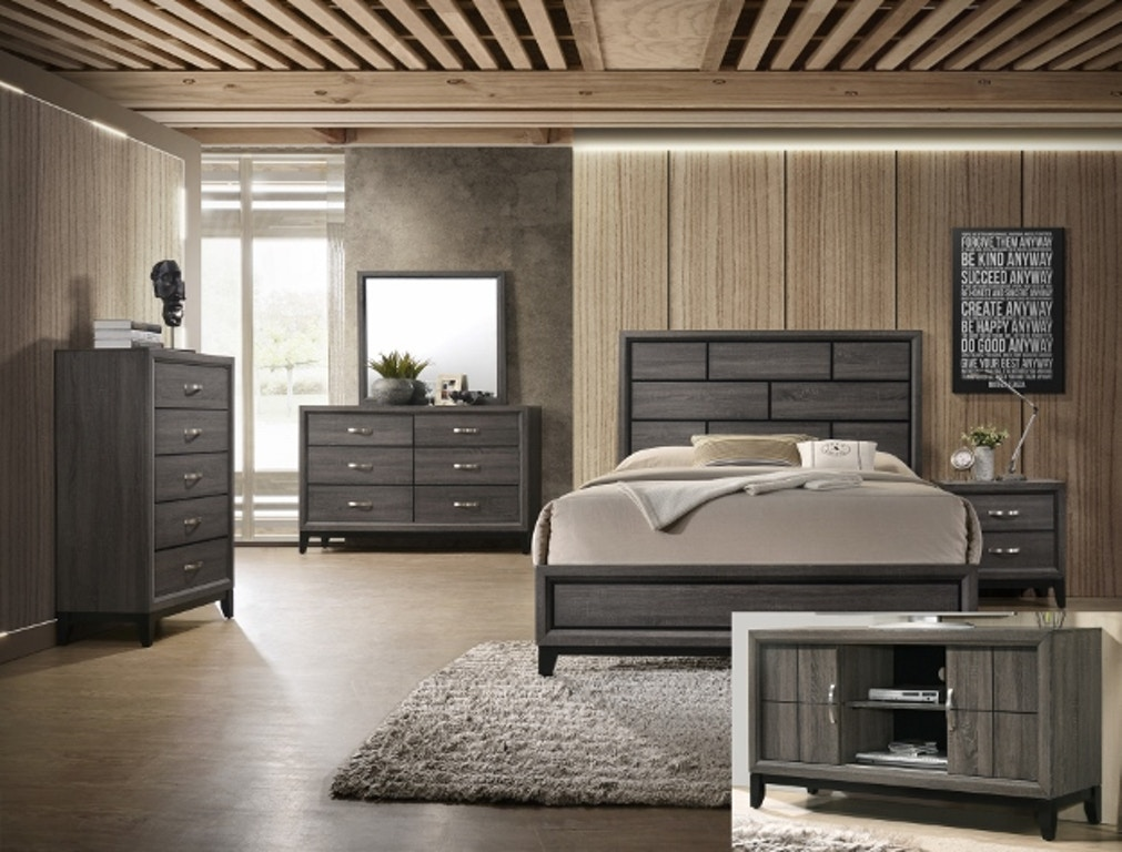 Crown Mark Bedroom Akerson Night Stand Grey B4620 2
