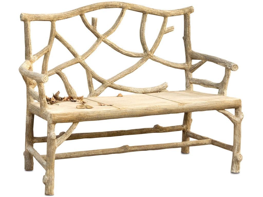 Currey And Company Outdoor Patio Woodland Bench 2705 Howell Furniture Beaumont And Nederland