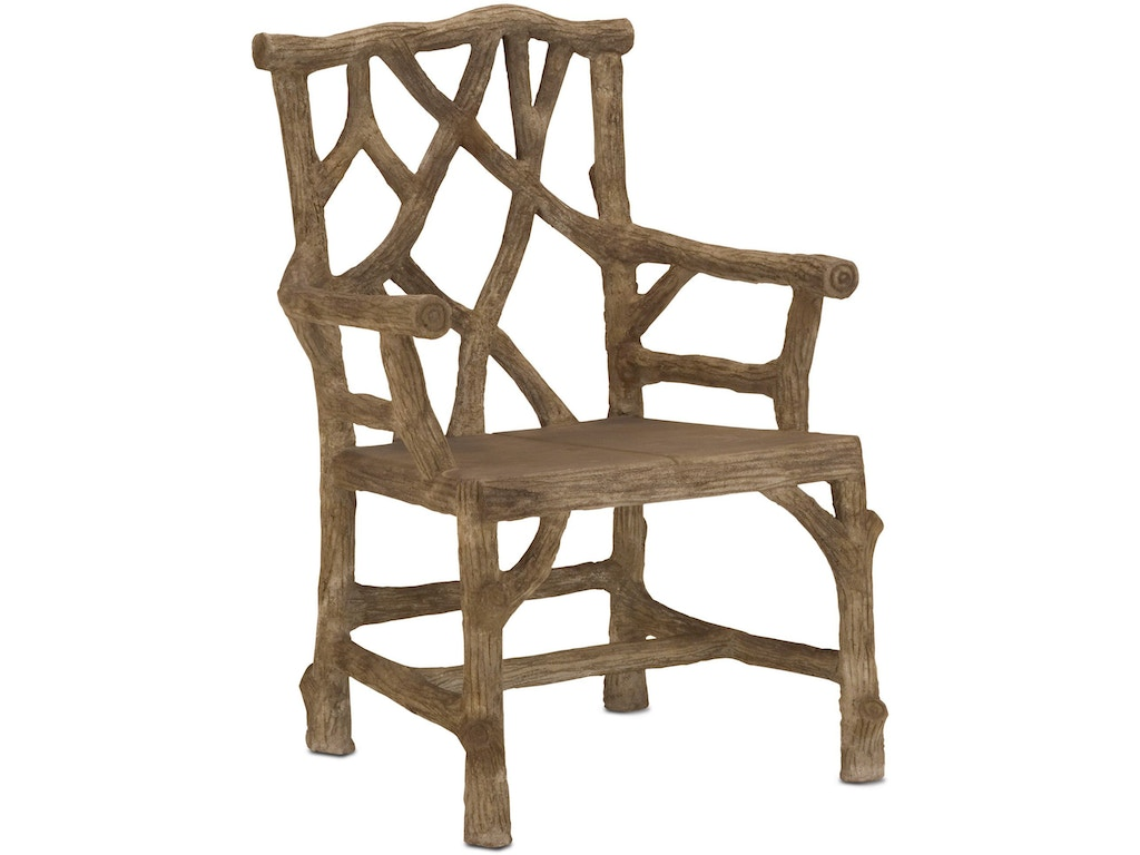 Currey and company outdoor patio woodland arm chair 2706 for Q furniture beaumont texas