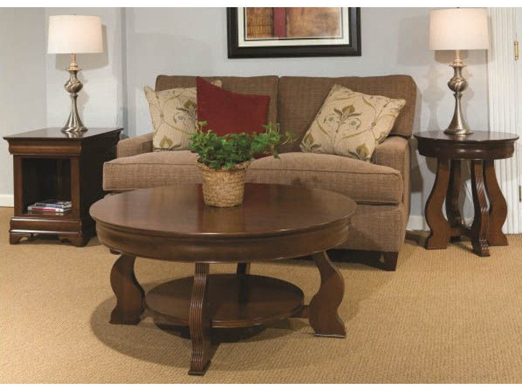 Durham Furniture Living Room Louis Philippe Round Cocktail Table 900 561c Stowers Furniture