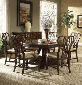 arlington round sienna pedestal dining room table w chestnut finish. 1110-810/811. round dining table arlington sienna pedestal room w chestnut finish
