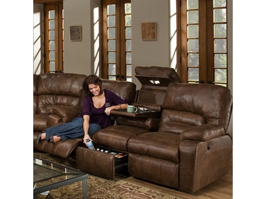Franklin Reclining Sofa With Table And Drawer Storage 59639