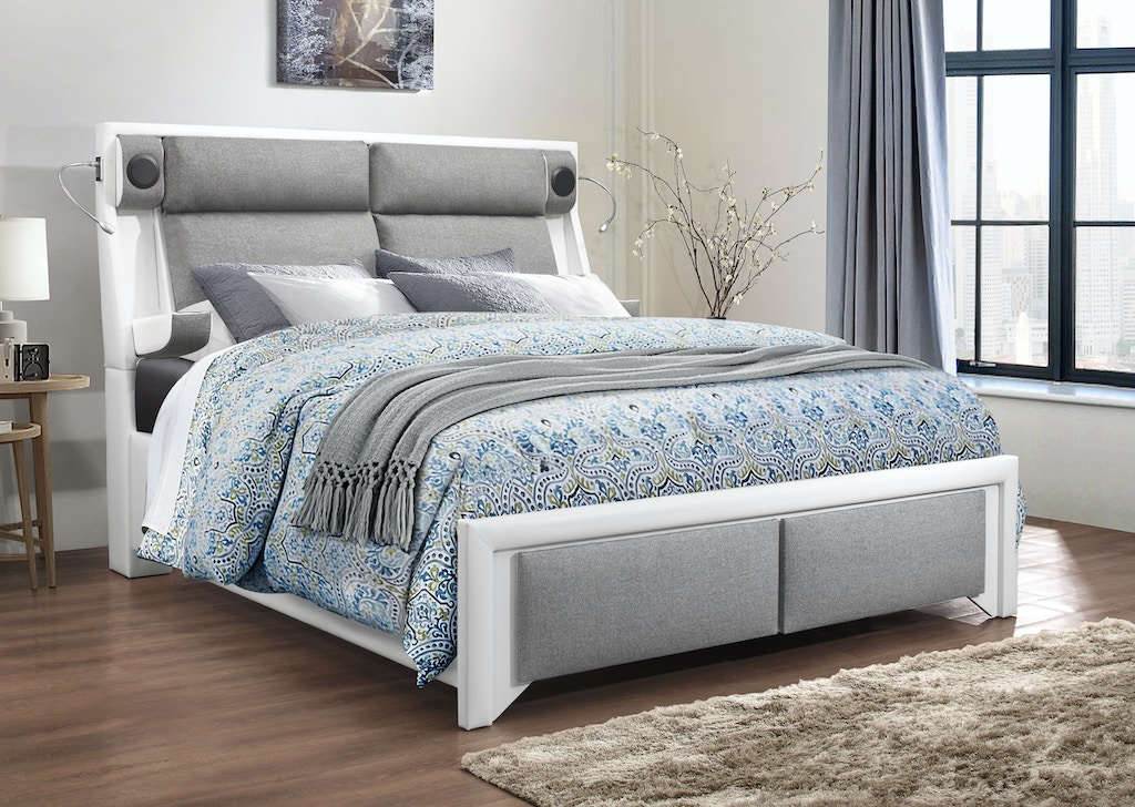 Global Furniture Usa Bedroom King Bed Footboard With Storage White Pu Grey