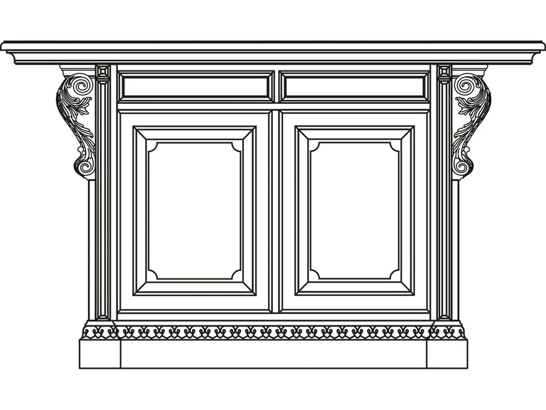 Habersham Home Stafford Kitchen Island w/Carved Top-60 Inches HB37316060  Walter E. Smithe Furniture + Design