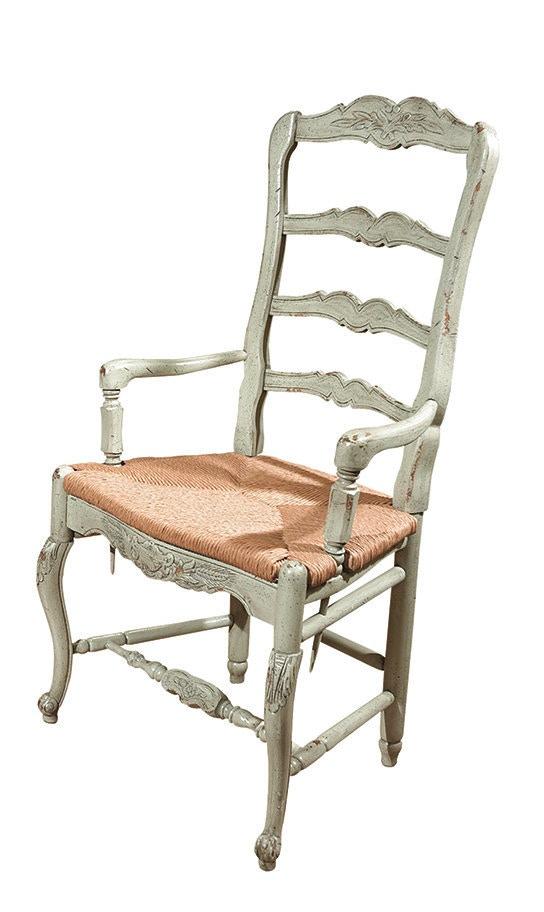 Habersham Plantation Corporation New Country French Arm Chair W/Rush Seat  43 5039