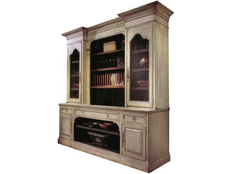 Habersham Plantation Corporation French Cupboard With Screen And Plate Rack 9 Feet 68 4257