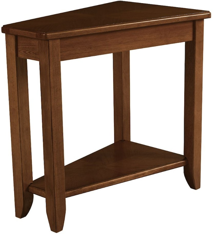 Hammary living room wedge chairside table oak 200 t00220 for Sofa table under 200