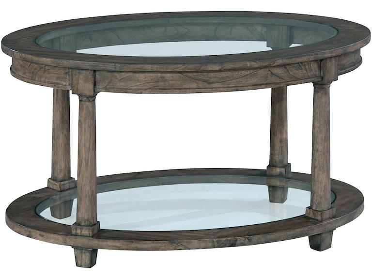 Hekman Living Room Oval Coffee Table Glass Top 23505 Stacy