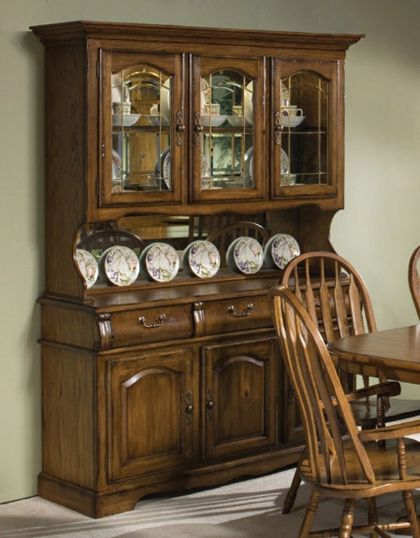 Intercon Clic Oak Large China Hutch Co Ca 3050 Bru Top
