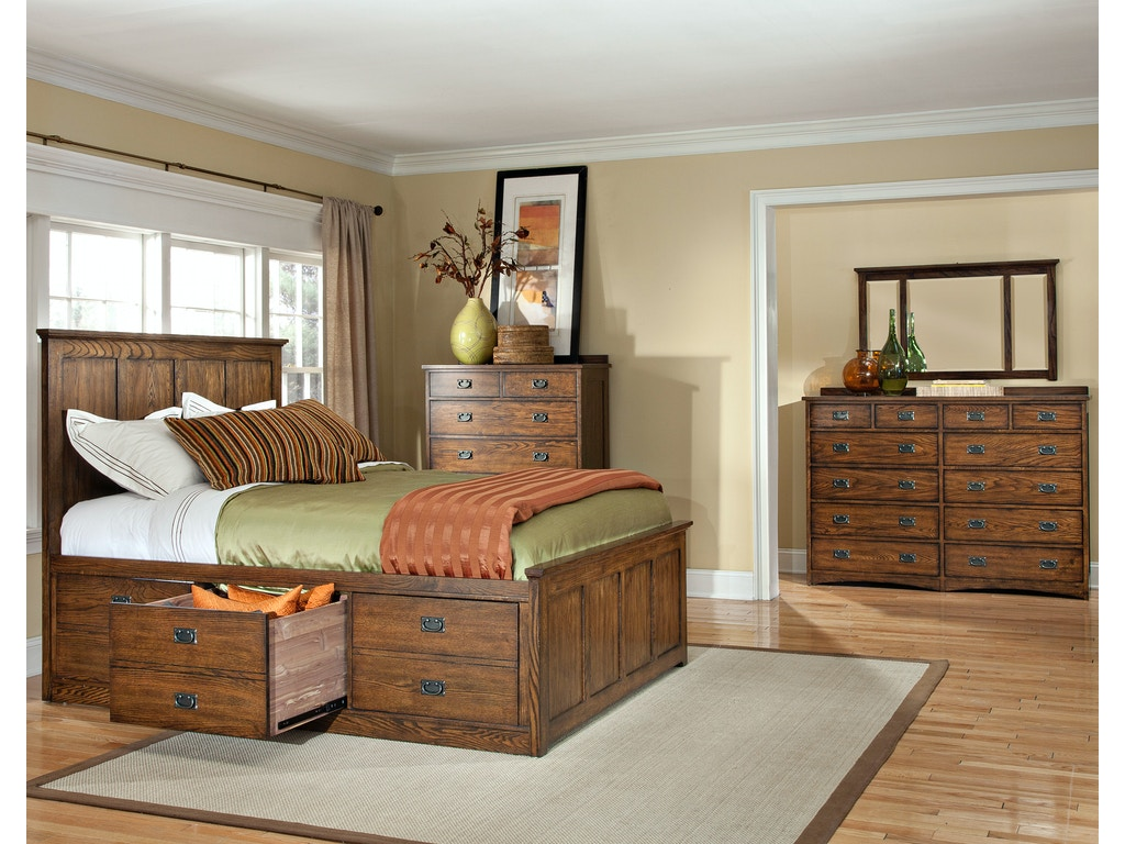 Intercon Bedroom Oak Park Captains Bed Op Br 5850s Mis C