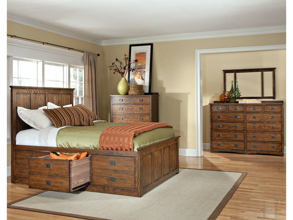 Intercon Bedroom Oak Park Captains Bed Op Br 5850s Mis C At Alpena Furniture