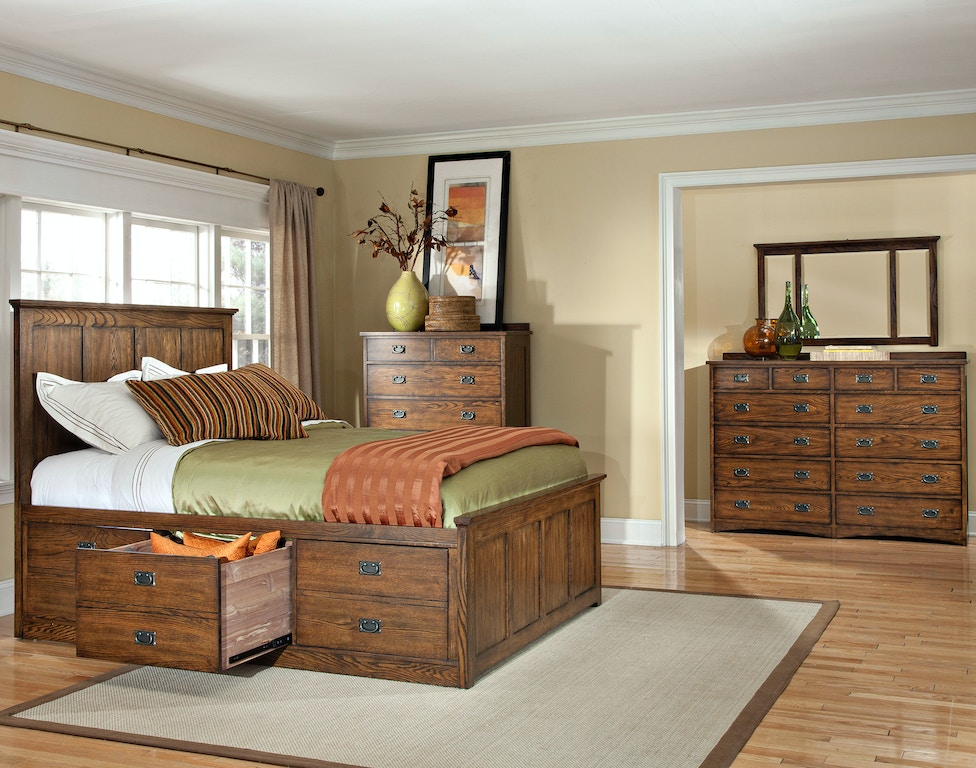 Intercon Bedroom Oak Park Captains Bed Op Br 5850s Mis C