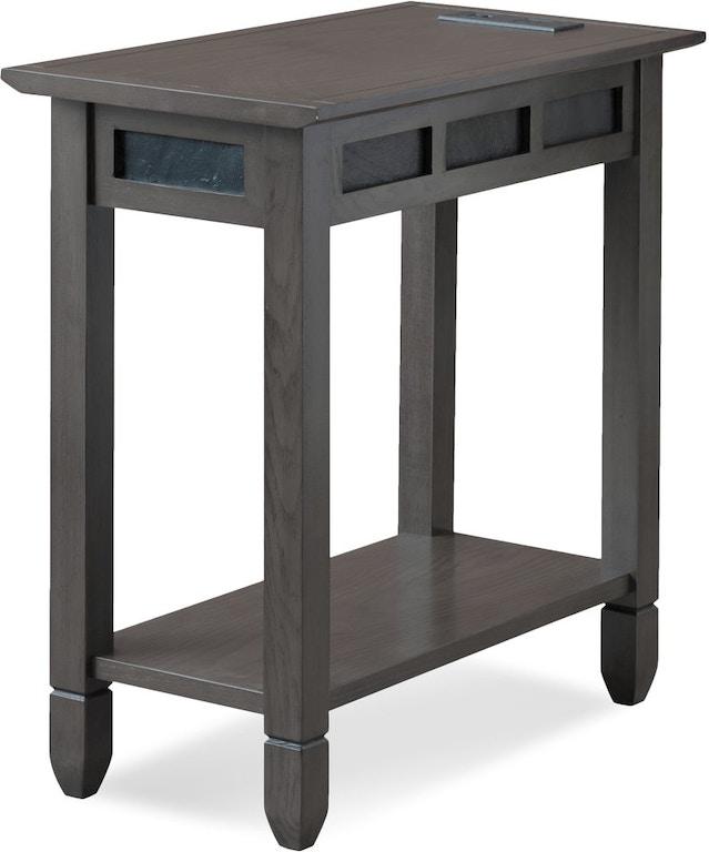Leick Home Living Room Smoke Grey Oak and Black Slate Chair ...