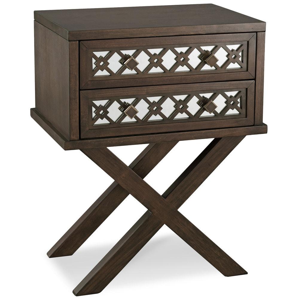 Leick Furniture Living Room Mirrored Diamond Filigree X Base