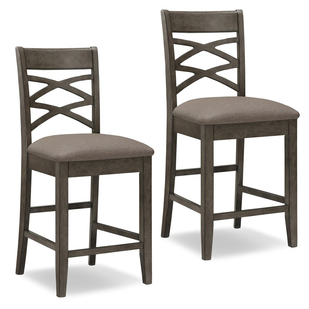 Leick Furniture Wood Double Cross Back Counter Height Stool 10084GS/MH