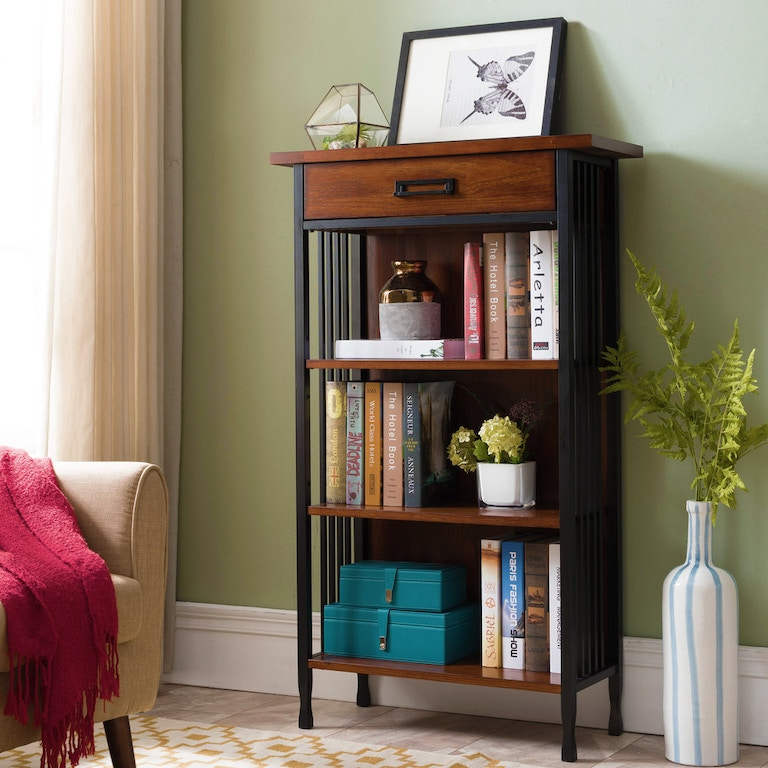 Leick Home Home Office Ironcraft Mantel Height Bookcase