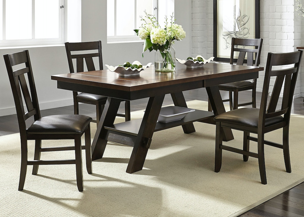 Liberty furniture dining room 5 piece rectangular table for Fine dining room tables