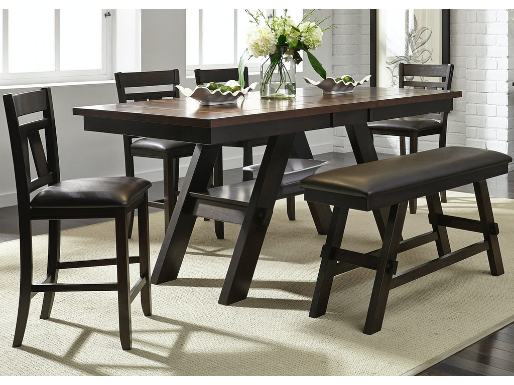 Liberty furniture dining room 6 piece gathering table set for Good dining table sets