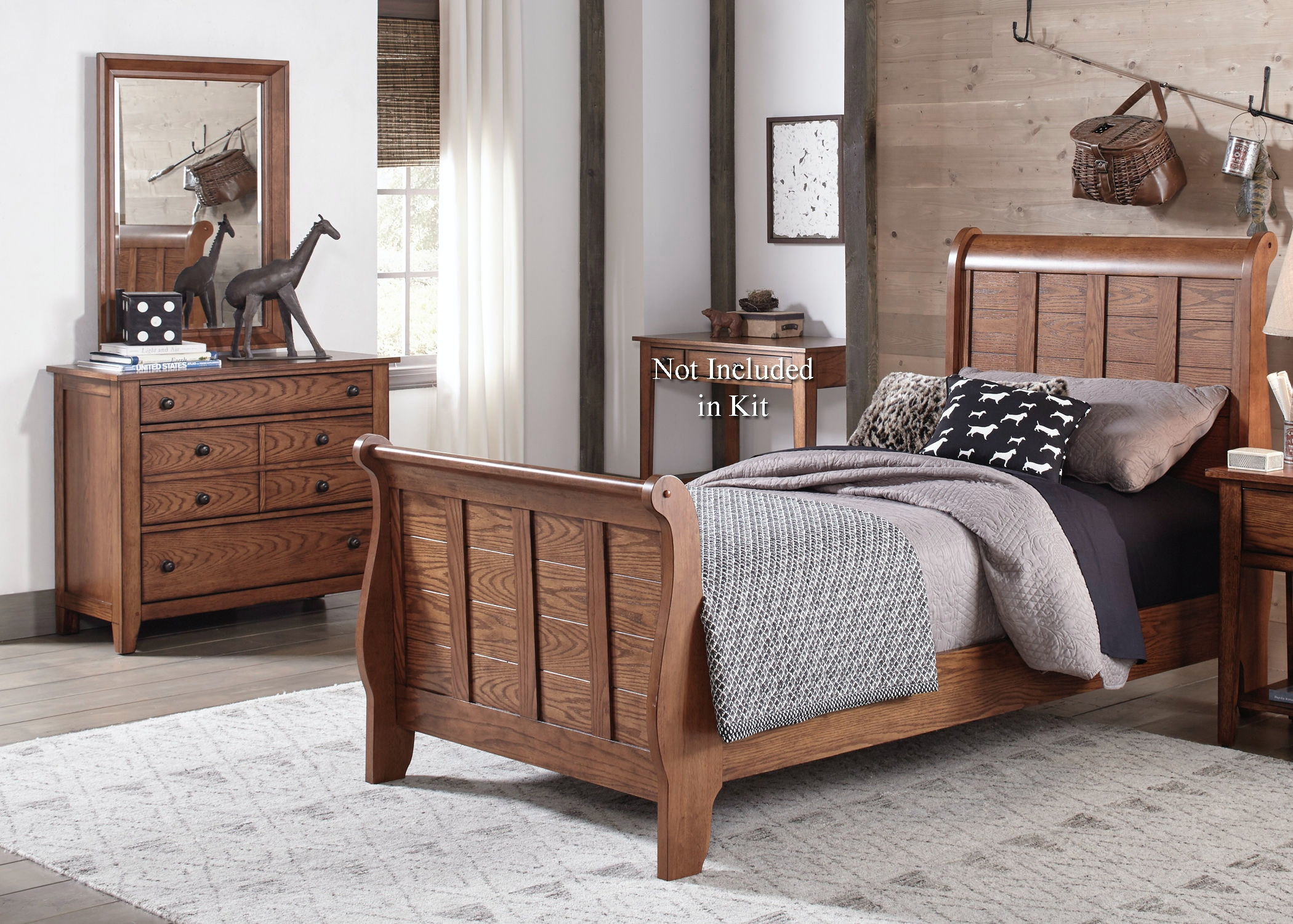 full sleigh bed dresser and mirror