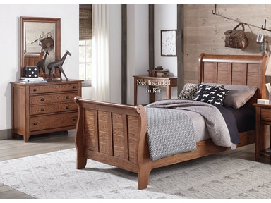 Liberty Furniture Twin Sleigh Bed, Dresser And Mirror 175-YBR-TSLDM