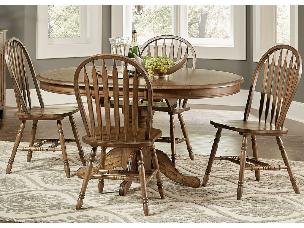 Liberty furniture dining room 5 piece pedestal table set for Table th visible
