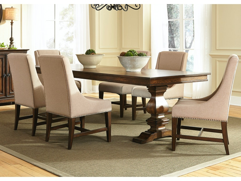 liberty furniture dining room 7 piece trestle table set 242 dr 7trs