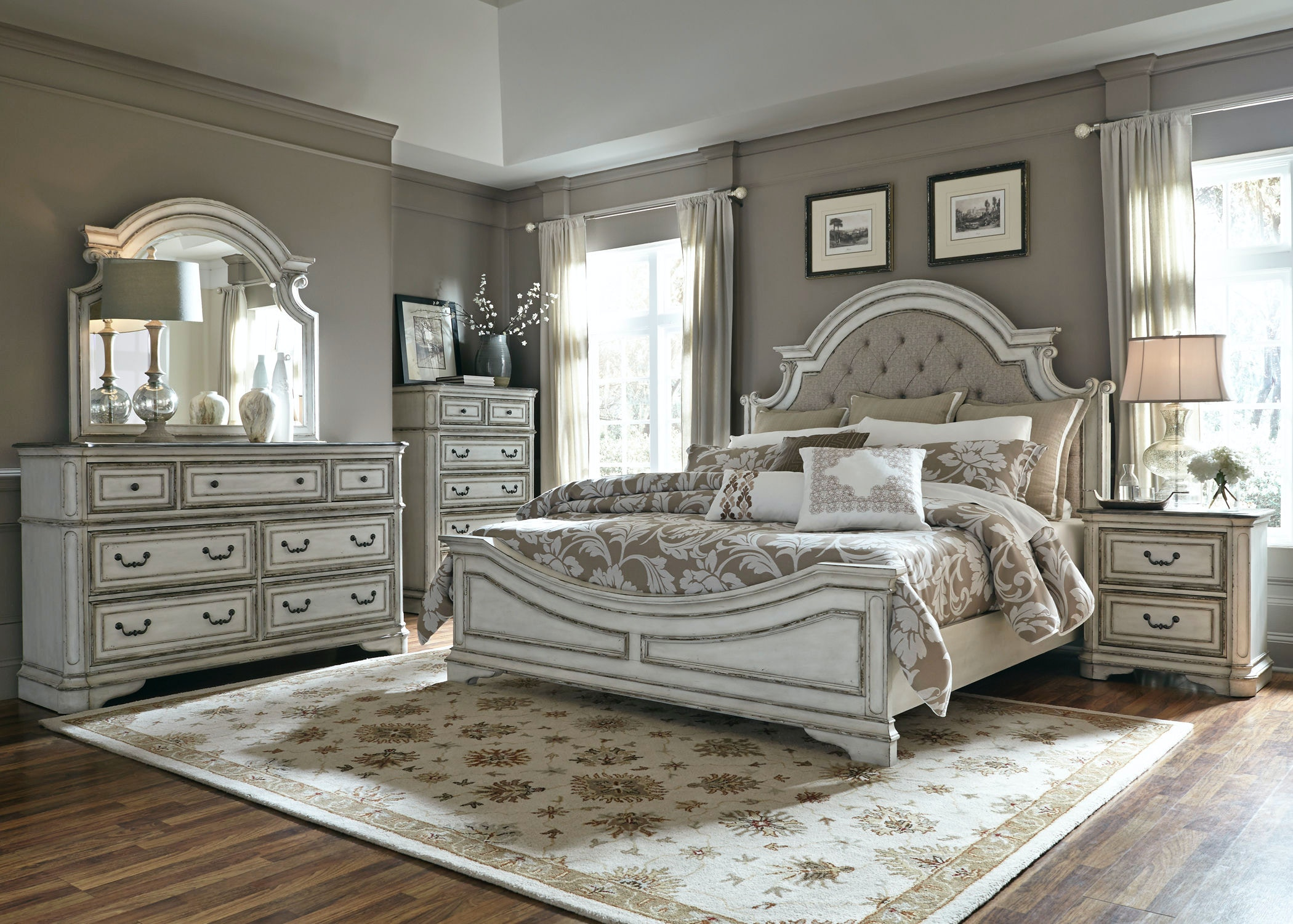 Liberty Furniture Bedroom King Uph Bed Dresser and Mirror Chest