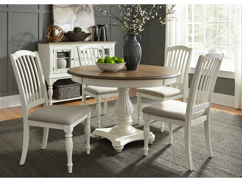 Liberty Furniture Dining Room 5 Piece Pedestal Table Set