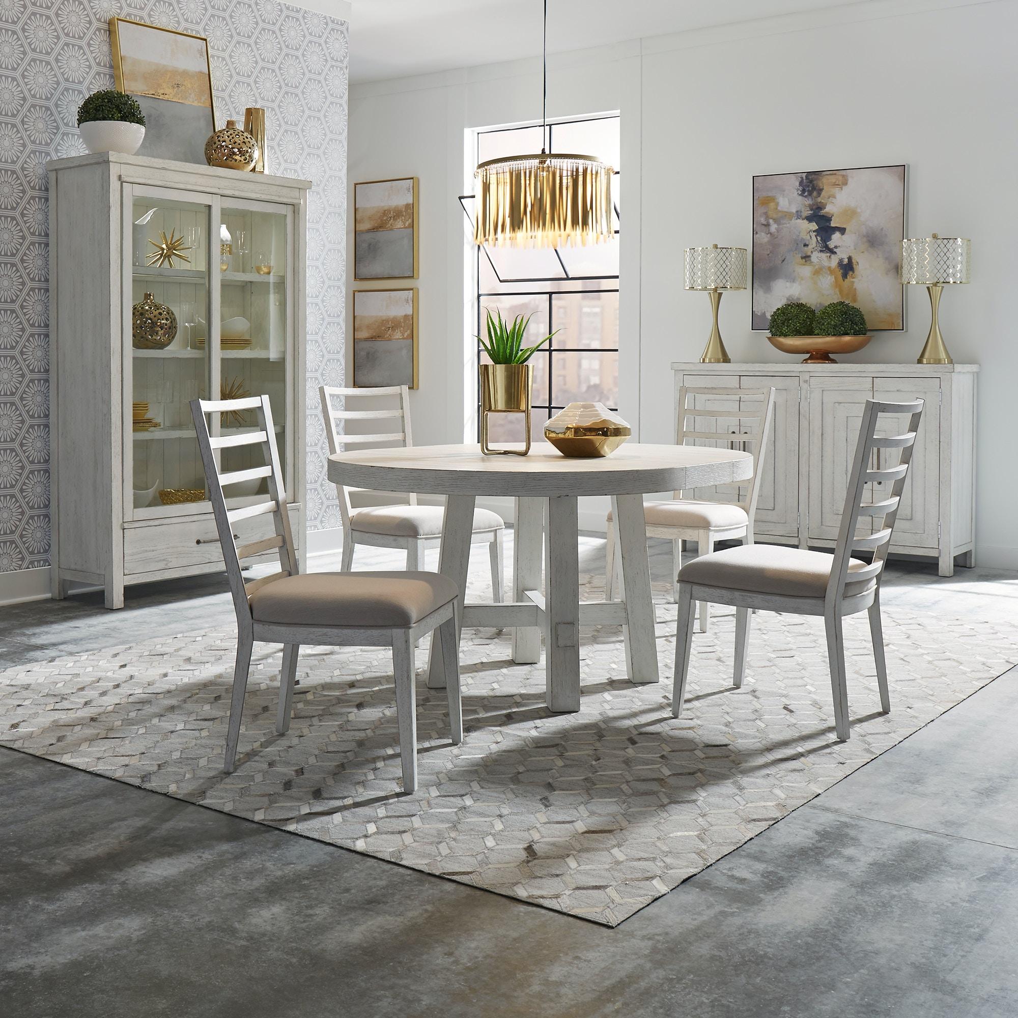 Liberty Furniture Dining Room Modern Farmhouse White 9 Piece Round ...