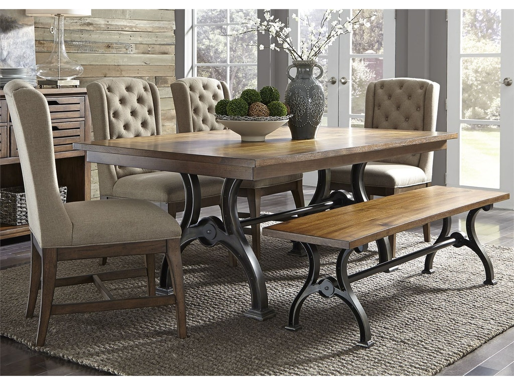Liberty Furniture Dining Room 6 Piece Trestle Table Set
