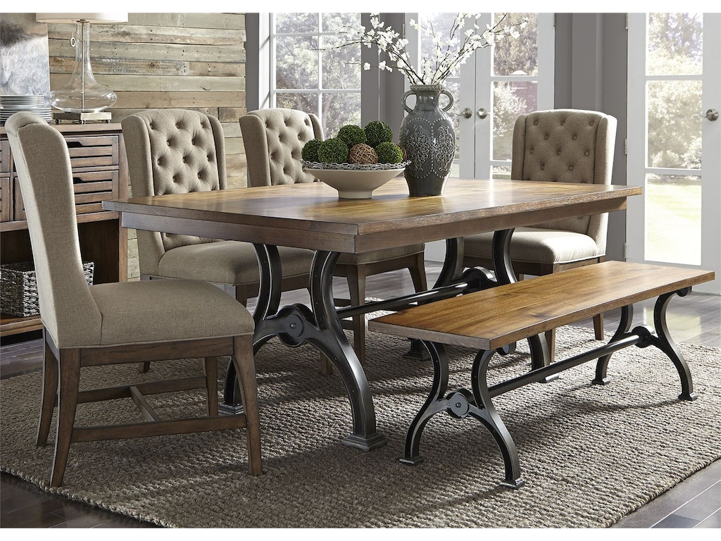 Liberty furniture dining room 6 piece trestle table set for Dining room furniture charlotte nc