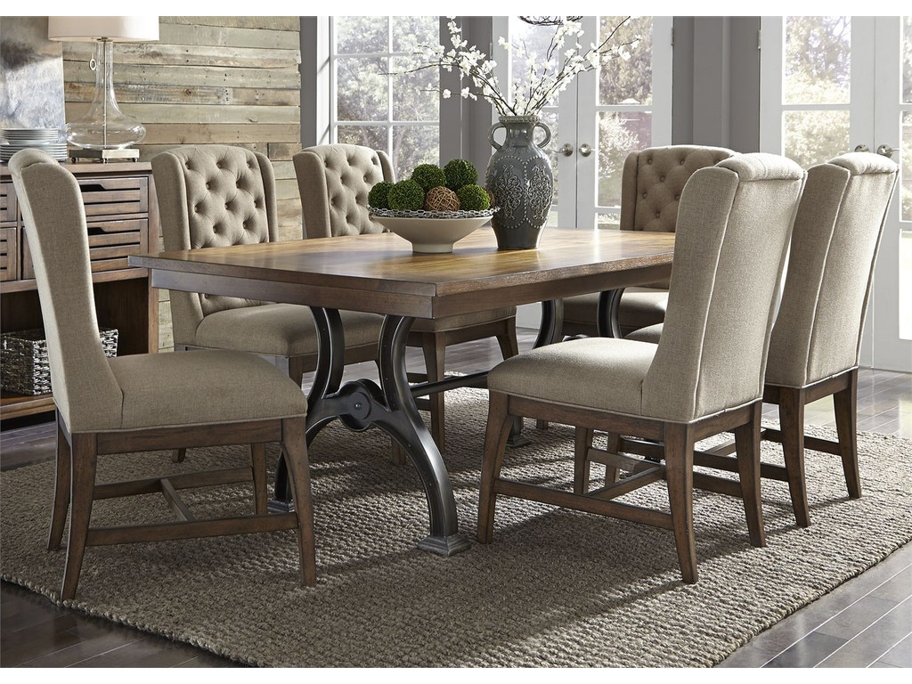 Liberty furniture dining room 7 piece trestle table set for Dining sets nashville tn