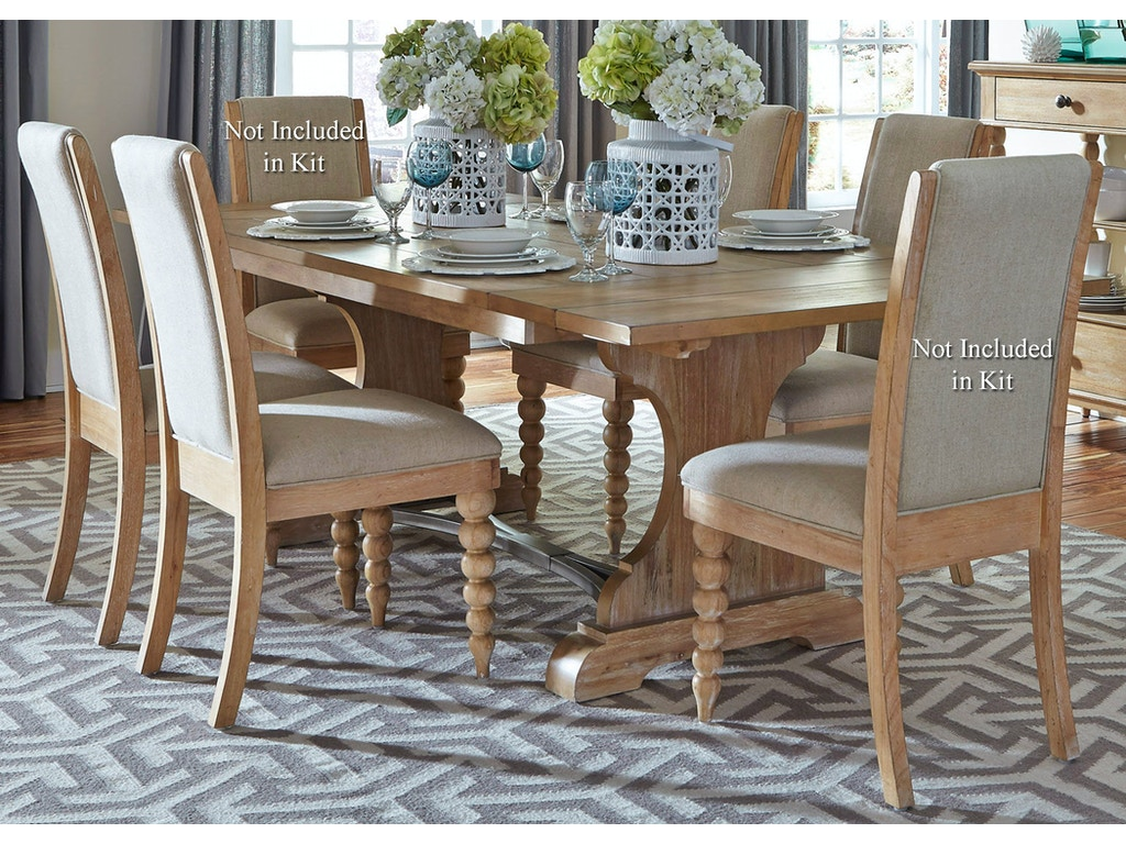 Liberty furniture dining room opt 5 piece trestle table for 5 piece dining room set with bench