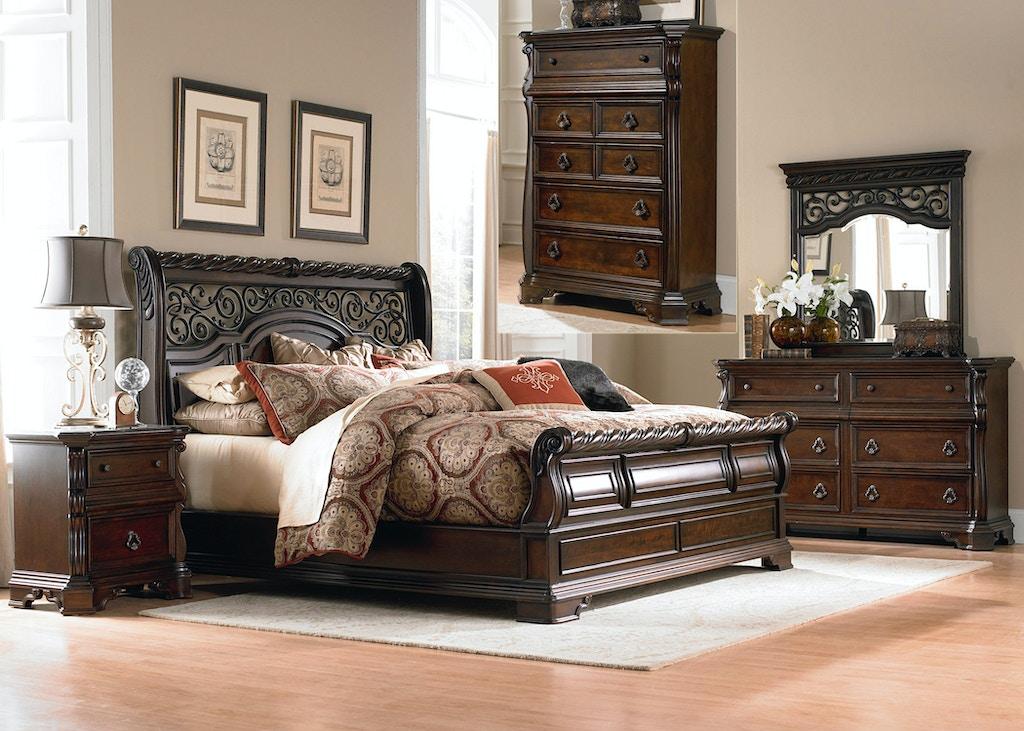 Liberty Furniture Bedroom King Sleigh Bed Dresser And Mirror Chest Ns 575 Br Ksldmcn Dewey